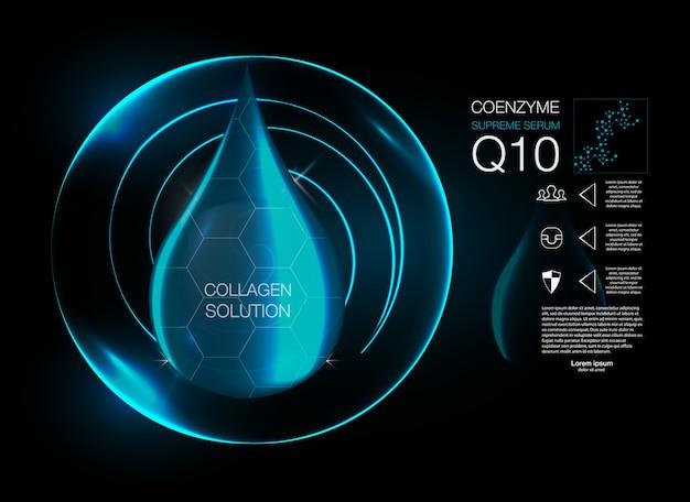 Solution Cosmétique. Essence De Goutte D'huile De Collagène Suprême Avec Hélice D'adn. Vecteur Premium