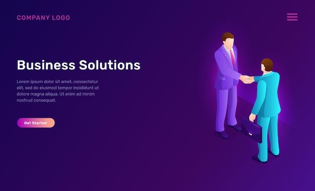 Solution D'entreprise Et Concept Isométrique D'accord Vecteur gratuit
