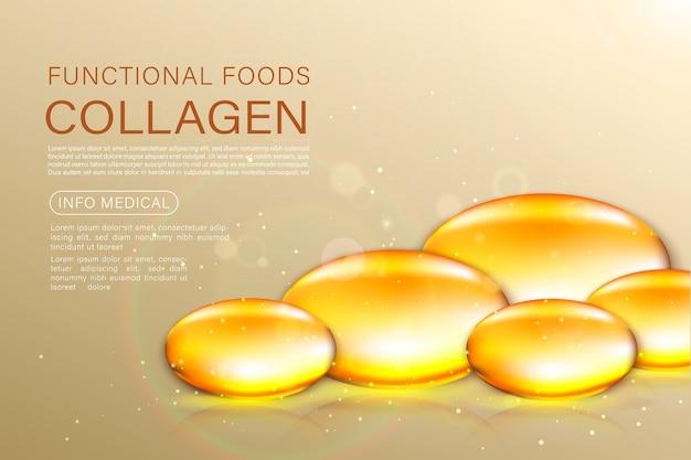 Solution De Traitement Anti-âge Pour Masque De Perle D'or. Bulles D'huile D'or Sur Fond Précieux. Vecteur Premium