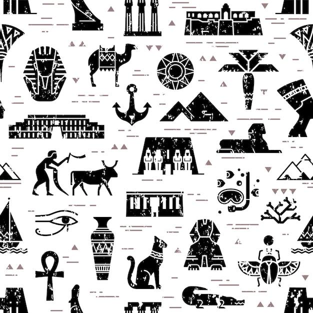 Sombre Modèle Sans Couture De Symboles, De Points De Repère Et De Signes De L'egypte Vecteur Premium