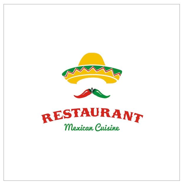 Sombrero mexicain avec piment pour le restaurant taco Vecteur Premium