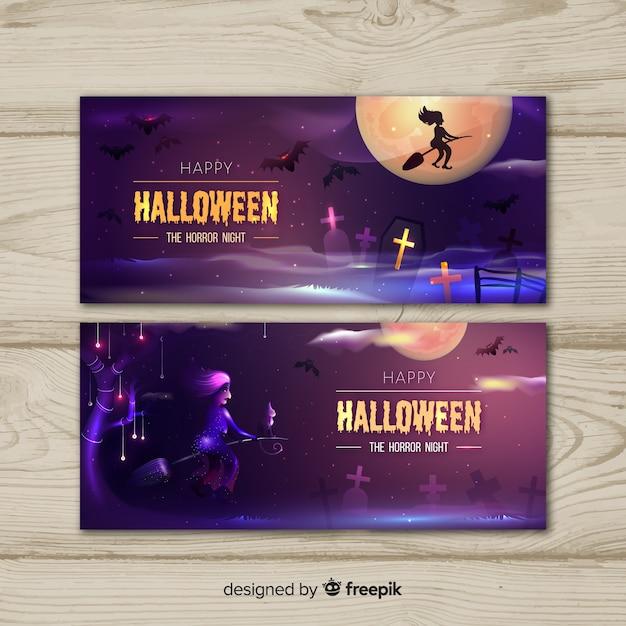 Sorcière sur un balai bannières d'halloween Vecteur gratuit