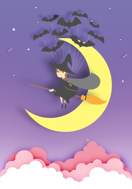 Sorcière sur le balai papier art style avec le ciel dans la nuit pour l'illustration vectorielle halloween Vecteur Premium