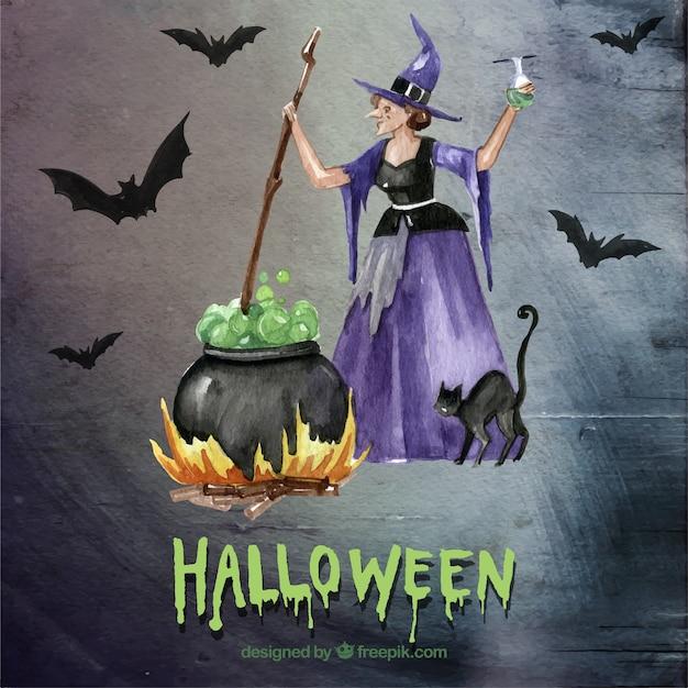 Sorcière Halloween Avec Le Chaudron Télécharger Des Vecteurs