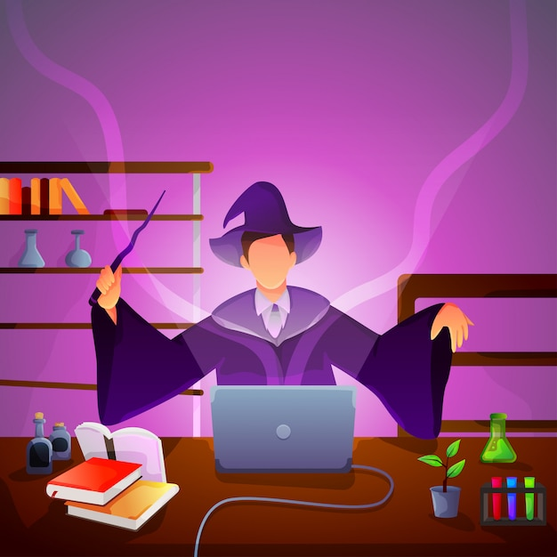 Une sorcière moderne fait des expériences sur son ordinateur portable Vecteur Premium