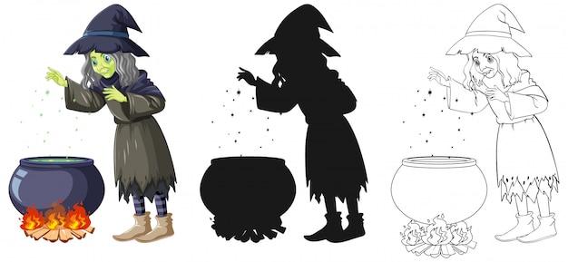Sorcière Avec Pot Magique En Couleur Et Contour Et Personnage De Dessin Animé De Silhouette Isolé Sur Fond Blanc Vecteur gratuit