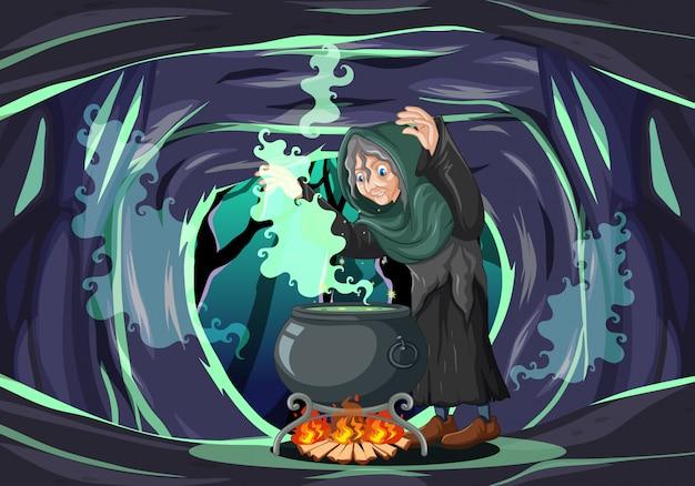 Sorcière Avec Un Style De Dessin Animé De Pot Magique Noir Sur Fond De Grotte Sombre Vecteur gratuit