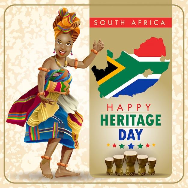 Souhaits De La Journée Du Patrimoine En Afrique Du Sud Avec Un Danseur Vecteur Premium