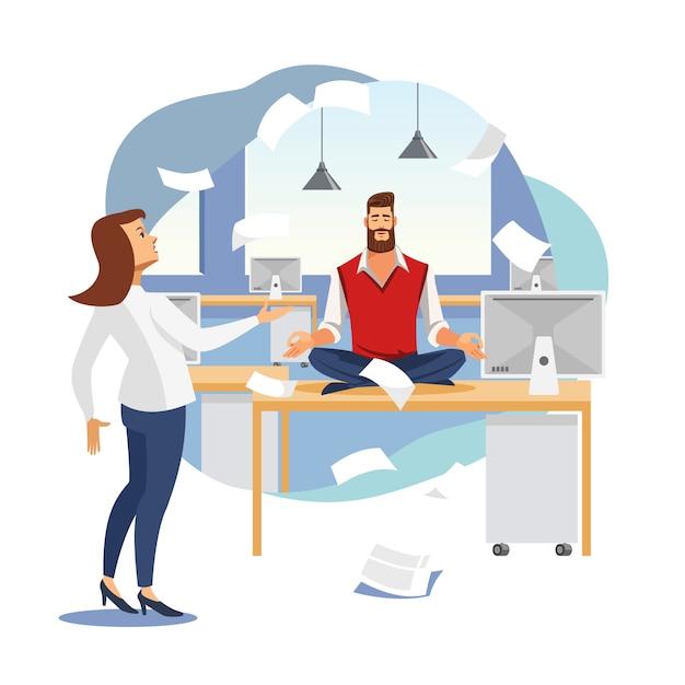 Soulagement du stress dans le travail de bureau concept de vecteur plat Vecteur Premium
