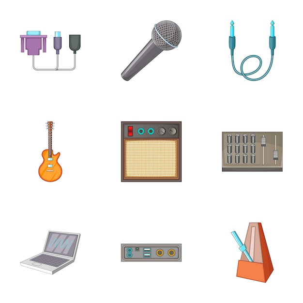 Sound dj set, style cartoon Vecteur Premium