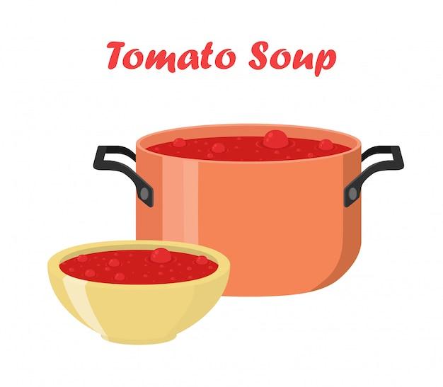 Soupe aux tomates dans un bol, plat. repas chaud Vecteur Premium