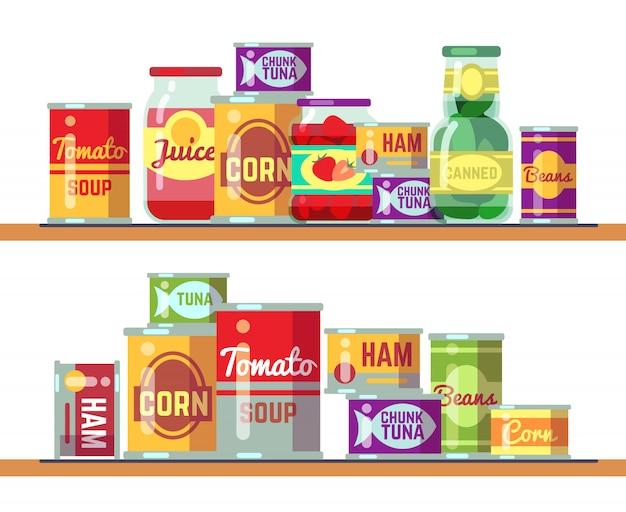 Soupe aux tomates rouges et illustration vectorielle de nourriture en conserve Vecteur Premium