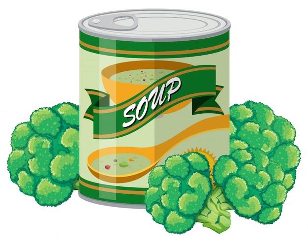 Soupe de brocoli en canette Vecteur gratuit