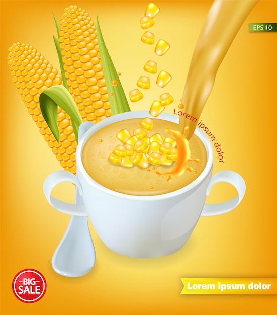 Soupe de maïs maquette réaliste Vecteur Premium