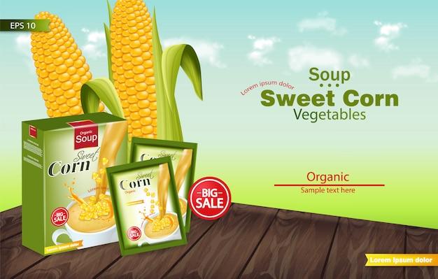 Soupe de maïs sucré maquette réaliste Vecteur Premium
