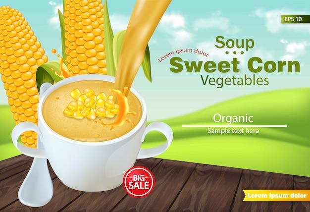 Soupe de maïs sucrée dans une maquette de bol Vecteur Premium