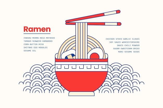 Soupe Ramen Japonaise En Arrière-plan Bol Vecteur gratuit