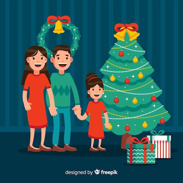Souriant famille illustration de noël Vecteur gratuit