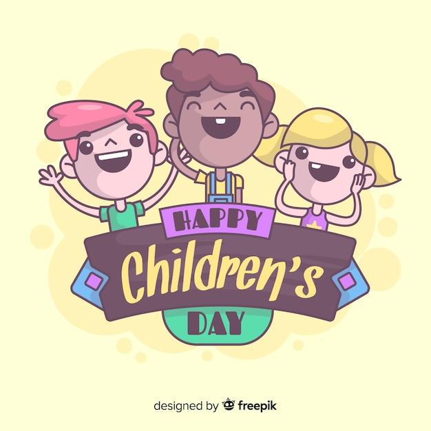 Souriant fond de jour pour enfants enfants Vecteur gratuit