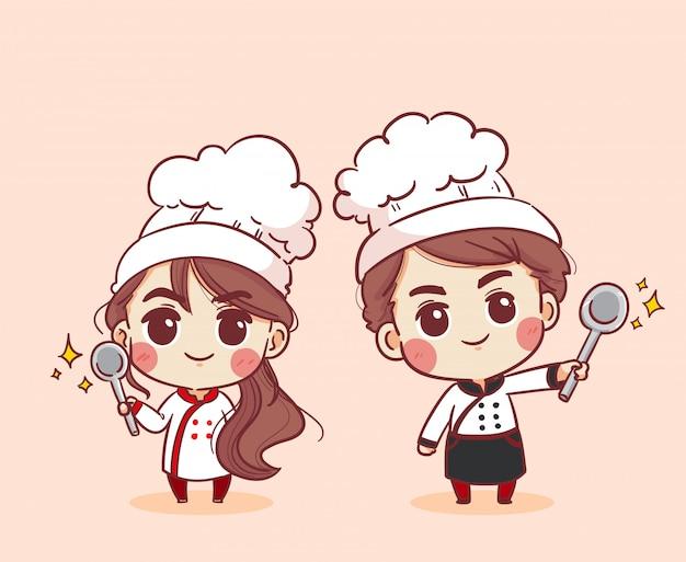 Souriant Et Heureux Chef Féminin Et Chef Masculin. Femme Chef Et Chef Masculin Cuisine. Illustration Dessinée à La Main. Vecteur Premium