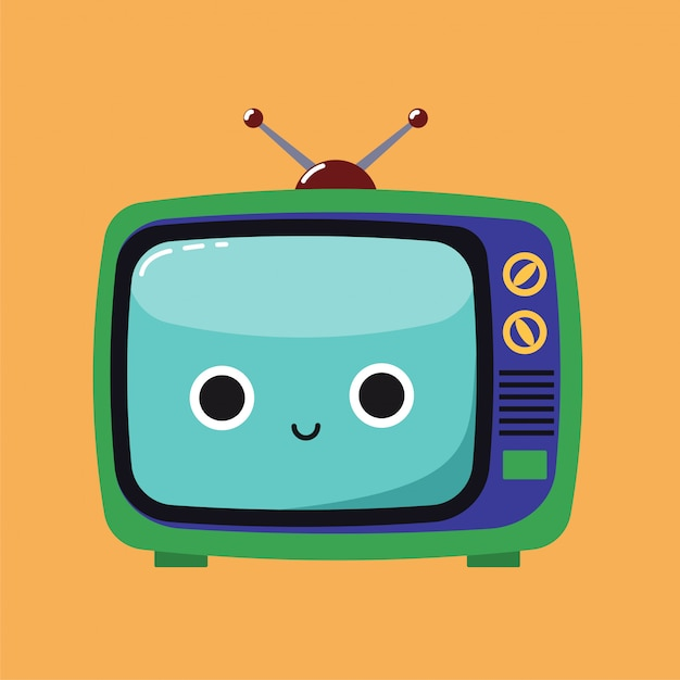 Souriant jolie illustration d'un vieux téléviseur Vecteur Premium