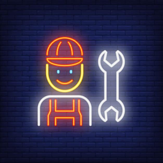 Souriant mécanique enseigne au néon Vecteur gratuit