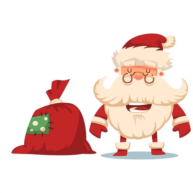 Souriez le père noël avec un sac cadeau rouge. illustration de dessin animé de noël de vecteur isolé Vecteur Premium