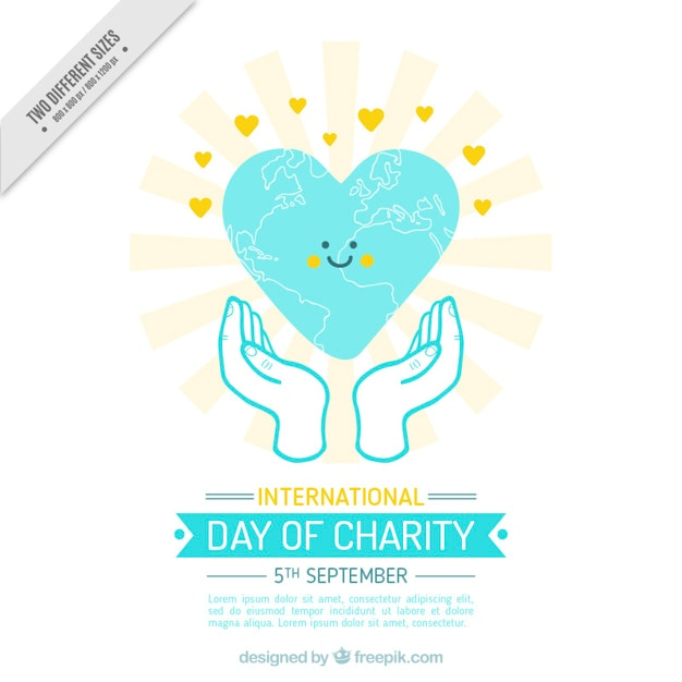 Sourire coeur dans la journée internationale de la charité Vecteur gratuit