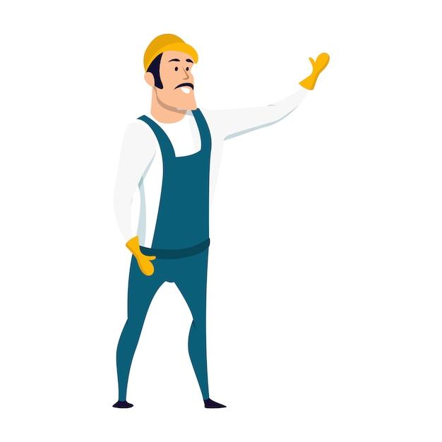 Sourire, mâle, ouvrier magasin, caractère, debout Vecteur Premium