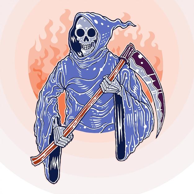 Sourire reaper, dessiné à la main Vecteur Premium