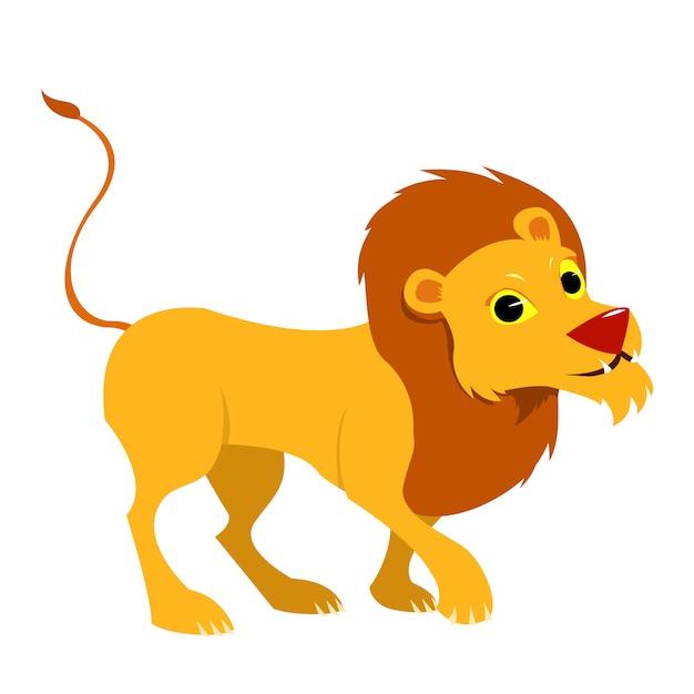 Sourire unique lion. illustration de style de dessin animé. Vecteur Premium