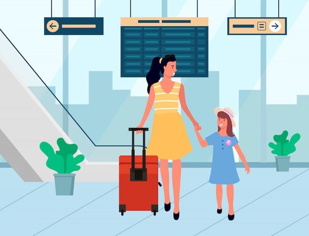 Sourire des voyageurs arrivent, famille en aéroport vecteur Vecteur Premium