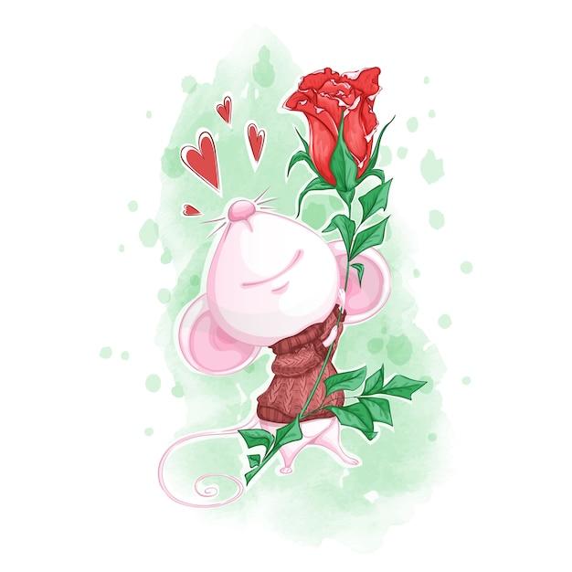 Souris Blanche Mignonne Dans Un Pull Tricoté Avec Une Rose Rouge Dans Ses Pattes. Vecteur Premium
