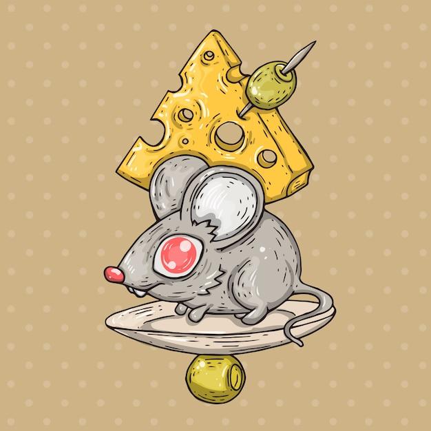 Souris De Dessin Animé Avec Du Fromage Et Des Olives. Illustration De Bande Dessinée Dans Un Style Bande Dessinée à La Mode. Vecteur Premium