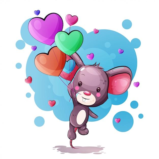 Souris de dessin animé mignon avec des ballons de coeur Vecteur Premium