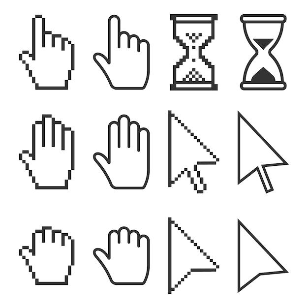 Souris icônes de curseurs pixel. Vecteur Premium