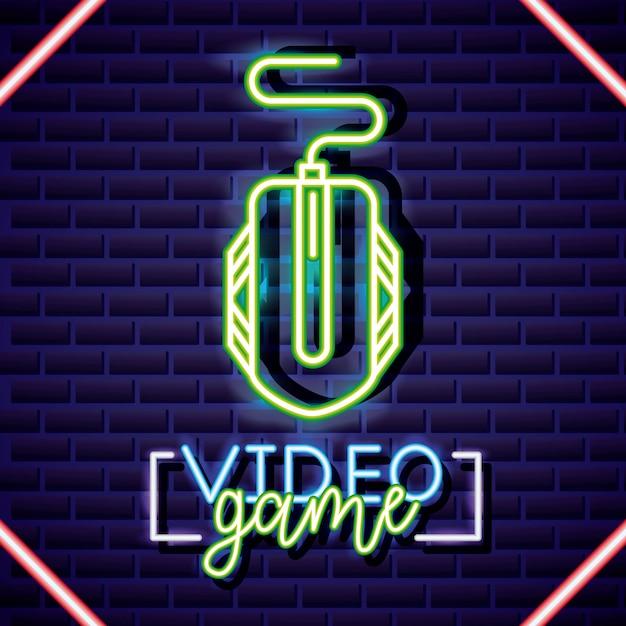 Souris, style linéaire néon de jeu vidéo Vecteur gratuit
