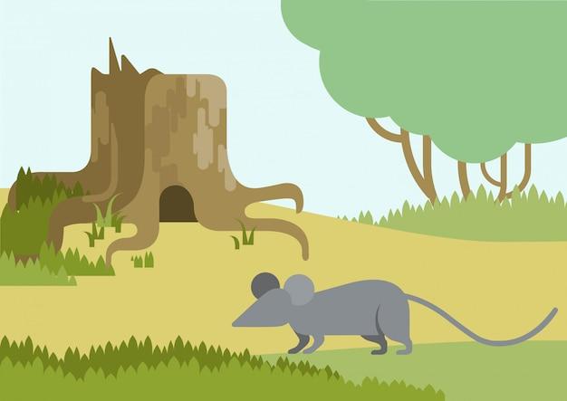 Souris Et Terrier Dans Le Dessin Animé Plat De Moignon Vecteur gratuit