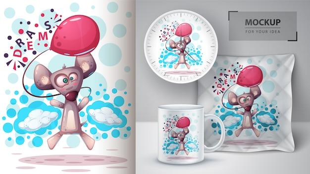 Souris volante, illustration de rat et merchandising Vecteur Premium