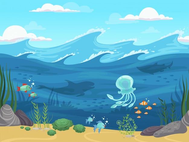 Sous L'eau Sans Soudure. Paysage D'eau De Jeu Avec Des Poissons Et Des Algues Plantes Aquatiques Fond D'horizon Vecteur Premium