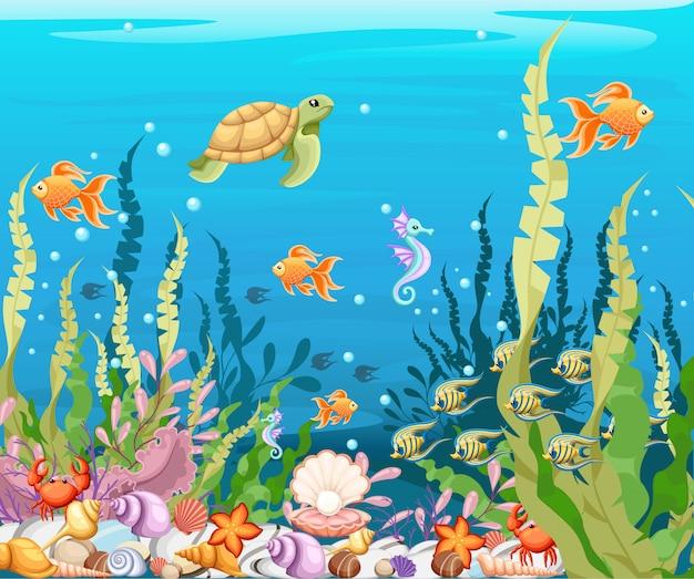 Sous Le Fond De La Mer Marine Life Landscape - L'océan Et Le Monde Sous-marin Avec Différents Habitants. Pour L'impression, Créez Des Vidéos Ou De La Conception Graphique Web, Une Interface Utilisateur, Une Carte, Une Affiche. Vecteur Premium