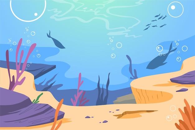 Sous Le Fond De La Mer Pour La Vidéoconférence Vecteur Premium