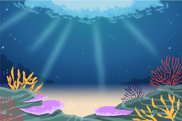 Sous Le Fond De La Mer Pour La Vidéoconférence Vecteur gratuit