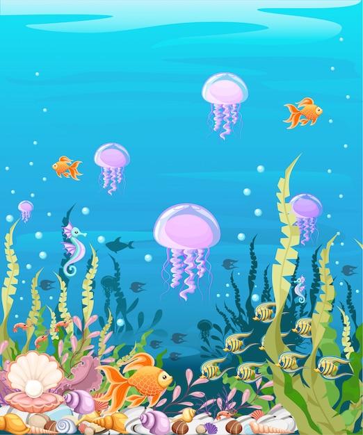 Sous-marin Avec Des Poissons. Paysage De La Vie Marine - L'océan Et Le Monde Sous-marin Avec Différents Habitants. Pour Les Sites Web Et Les Téléphones Mobiles, L'impression. Vecteur Premium