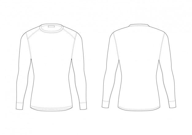 Sous-vêtement thermique homme hiver. t-shirt blanc à manches longues. vêtements de garde éruption de sport masculin isolé. vues avant et arrière. Vecteur Premium