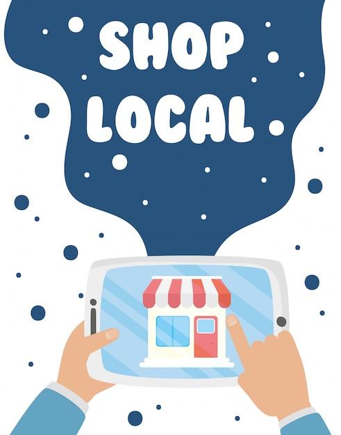 Soutenez La Campagne Commerciale Locale Avec La Construction D'un Magasin Dans La Conception D'illustration De Tablette Vecteur Premium