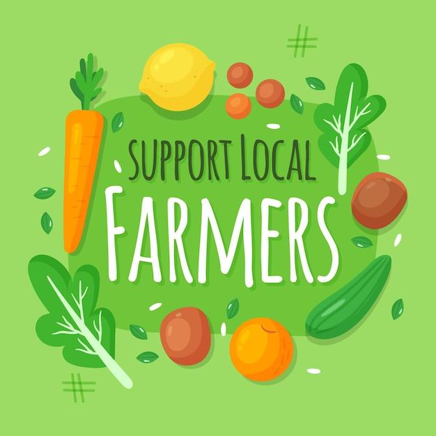 Soutenez L'illustration Des Agriculteurs Locaux Avec Des Légumes Vecteur gratuit