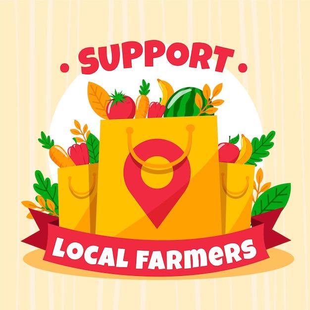 Soutenir Les Agriculteurs Locaux Illustrés Vecteur gratuit