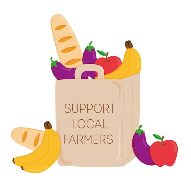 Soutenir Le Concept Des Agriculteurs Locaux Vecteur gratuit
