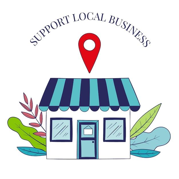 Soutenir Le Concept D'entreprise Locale Vecteur Premium